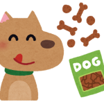 ご褒美をもらえて喜ぶ犬のイラスト
